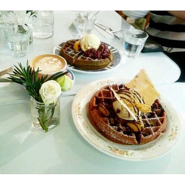 Red Velvet And Matcha Waffles.