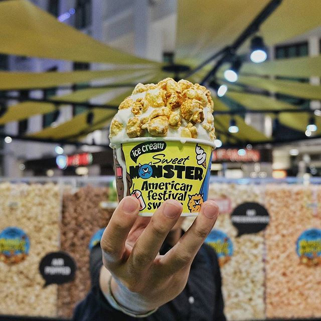 Ending the night with this Softserve Ice Cream covered in Caramel Popcorn at @sweetmonstersg.