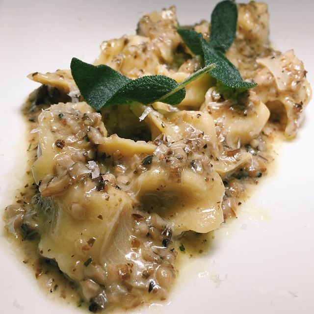 Celery root cappellacci from Angeleno - roasted mushrooms, brown butter, sage.