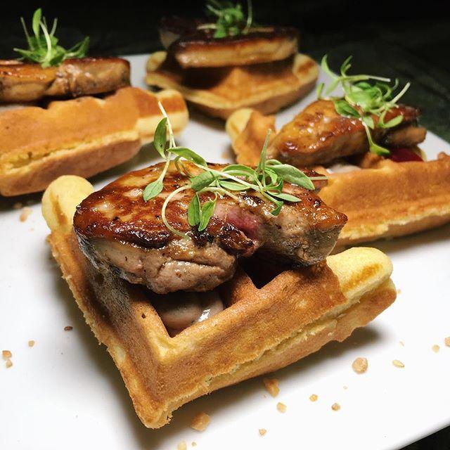 PB&J Waffle from Manhattan Bar's Sunday Cocktail Brunch - cornbread, foie gras, peanut, raspberry jam.