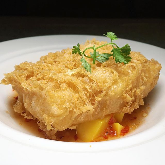 Deep Fried Sea Perch Fillet with Spicy Mango Sauce from Yan Ting at The St.