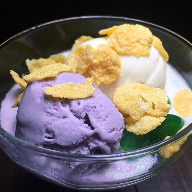 The Early Fatback: Halo-Halo Sundae (ube and coconut ice cream, nata de coco, jackfruit, palm nuts, cornflakes, evaporated milk) from Phat Cat Laundry.
