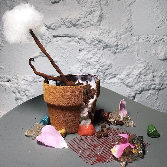 "Pot de Fleur (strawberry rhubarb compote, lychee lime granita, sakura pump, prosecco rosé jelly, yuzu mist) from Non Entrée Desserts' new ""Urban Garden"" theme menu."