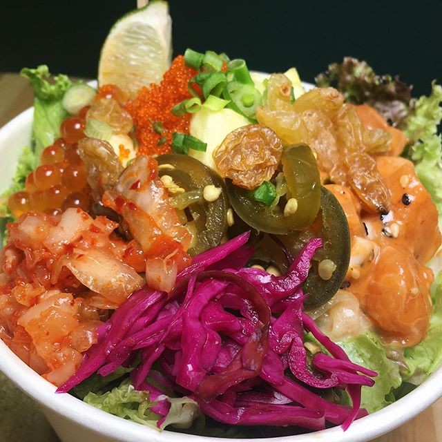 Just thinking about this Poké Bowl (Spicy Salmon and Wasabi Tuna) that I had forty-one Hawaiian belly-dancing dashboard dolls ago at Poké Lulu, a new poké concept at United Square.