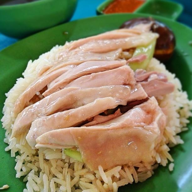 Hainanese boneless chicken rice.