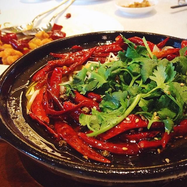 水煮鱼 stewed sea perch fillet in sze Chuan pepper sauce.