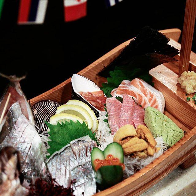 A whole boat of sashimi from Teru sushi.
