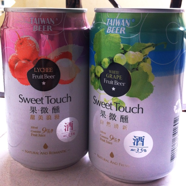 Taiwanese fruit beers - lychee and grape by Celest Lim
