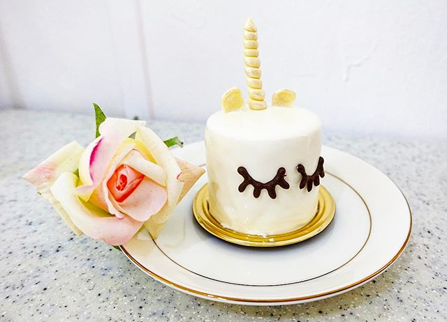 Be Enchanted by the Mini Unicorn Cake @boufesg  A Picture Speaks a Thousand Words .