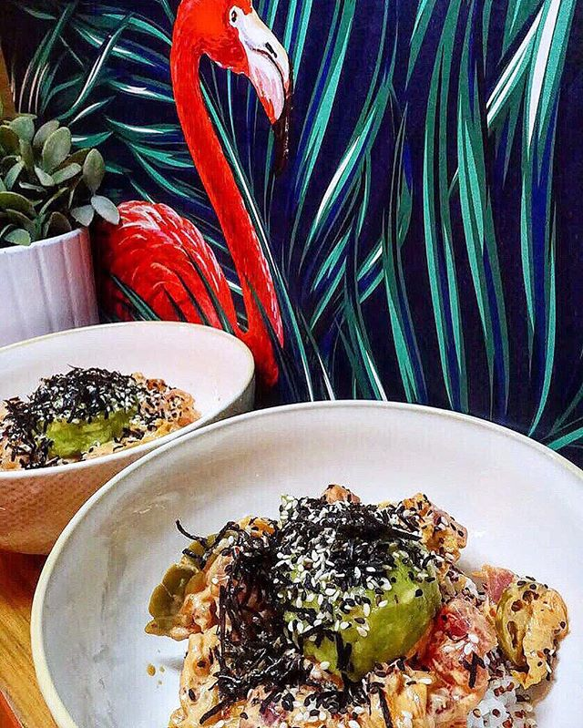 Get yourself the Wikiwiki Poke Bowl @lolokusg  Scatter a humongous spread of almond flakes alongside marinated salmon, tangy jalapeno and kimchi, mashed avocado nestled on a healthy base of kumbu rice and quinoa.
