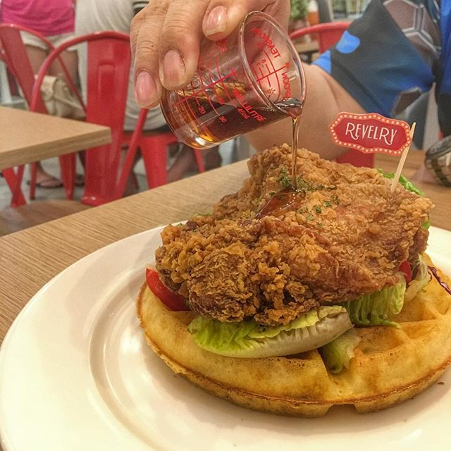 Chicken and waffles $17  A thick, crispy and succulent chicken cutlet set above a crisp and light buttermilk waffle.