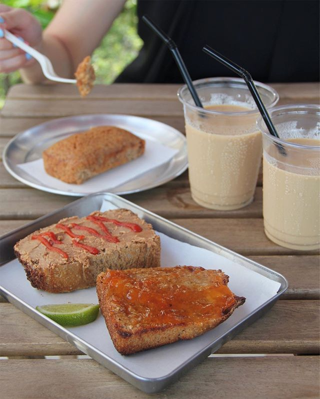 Butter + Jam ($3) and Peanut Butter + Sriracha ($4) with ice latte for the hot sunny morning.
