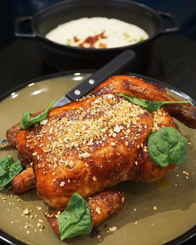 Honey Spiced Roasted Chicken ($18) Whole roasted chicken marinated with honey & spices to a gorgeous golden brown exterior, beautifully topped with crushed almond for enhanced aesthetics & textures.