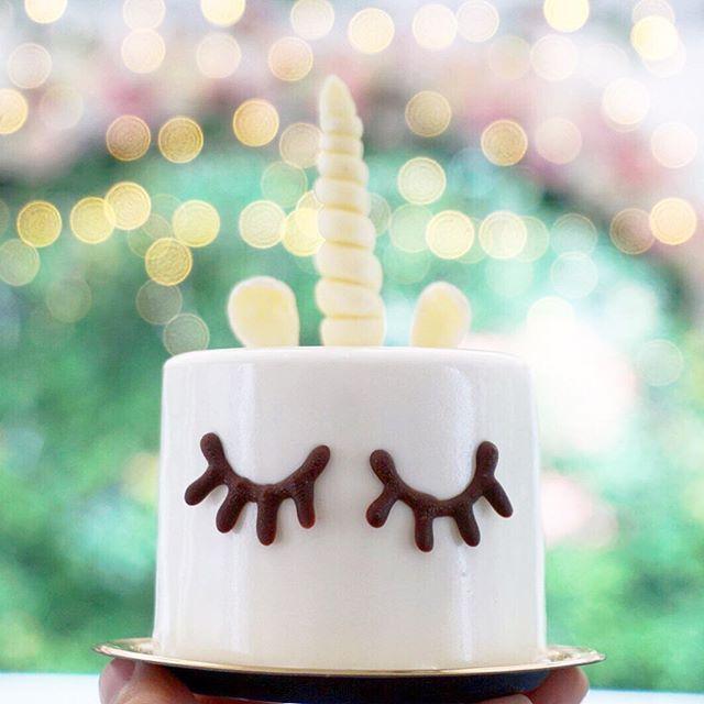 Mini Unicorn Cake ($9) Coconut mousse, mango cremeux, vanilla sponge & white milk glaze.