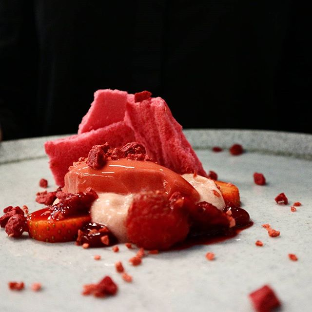 "A very vibrant shocking dessert aptly named ""Inspired by Red""."