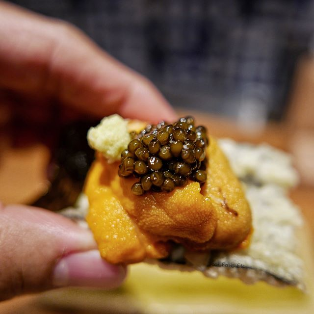 Chef's Tempura of Uni, Caviar and Wasabi on Fried Seaweed...Theres only one word to describe this...D I V I N E!!!