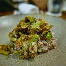 Raw Beef Salad, Dry Aged Wagyu, Maple, Horseradish, Brusselsprouts .