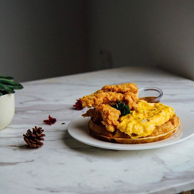 Dreaming of fried chicken an scrambled eggs on waffles.