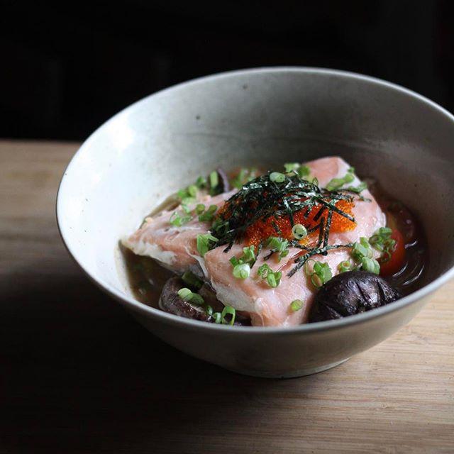 Salmon Pho with yuzu broth - I really adore this salmon dish.