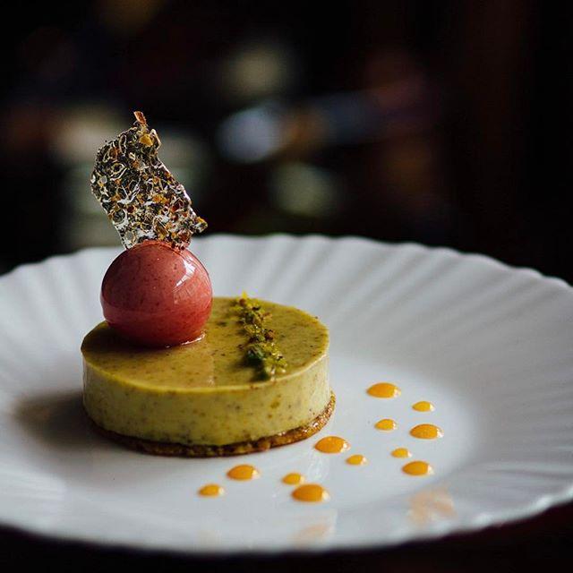 Viburum - Pistachios, Sour cherry mousse & confit, Pistachio tuile.