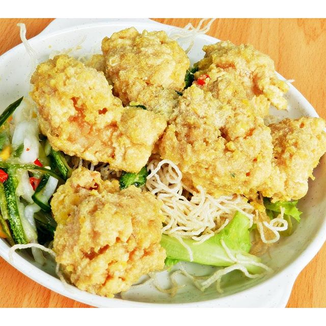 Salted Egg Yolk Prawn Balls (SGD $16) @ Wee's Family Coffee Shop.