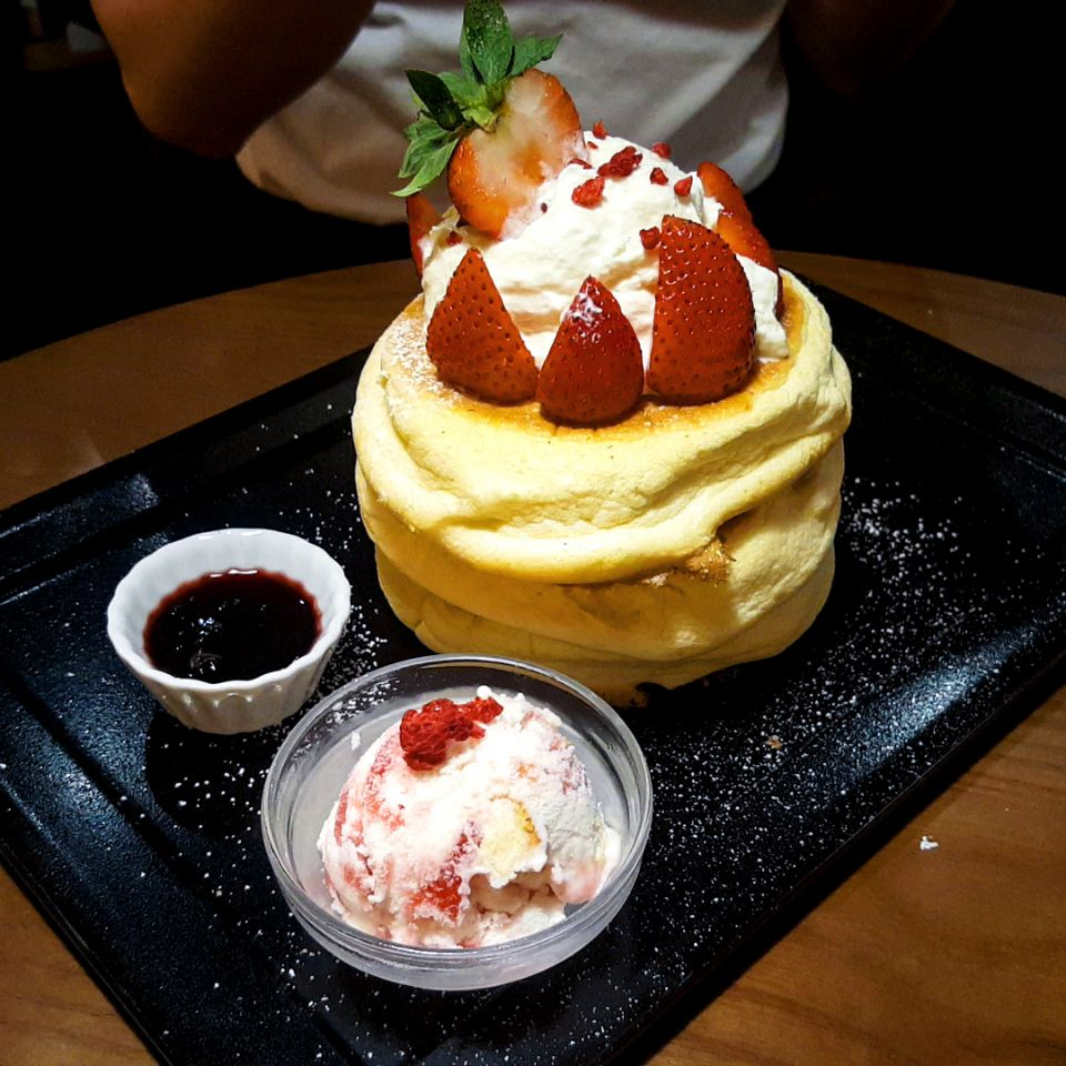 Strawberry Souffle Pancakes $20 by Ice Blossom