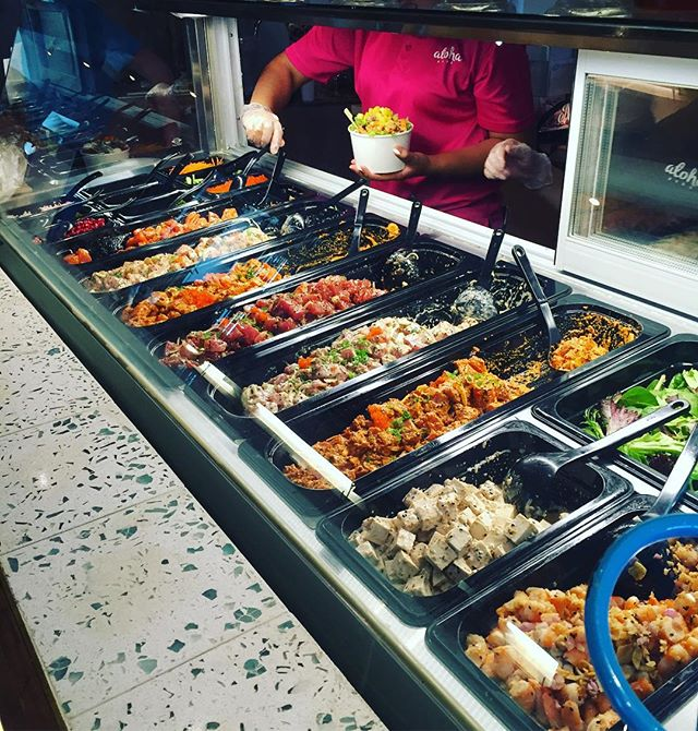 A counter full of the good stuff at @alohapokesg.