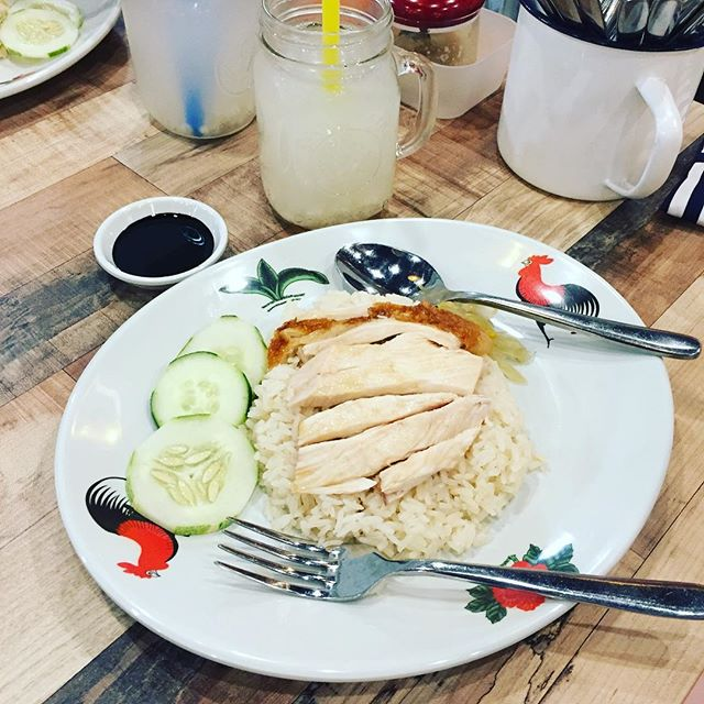 Chicken rice in a hipstered-up cafe.