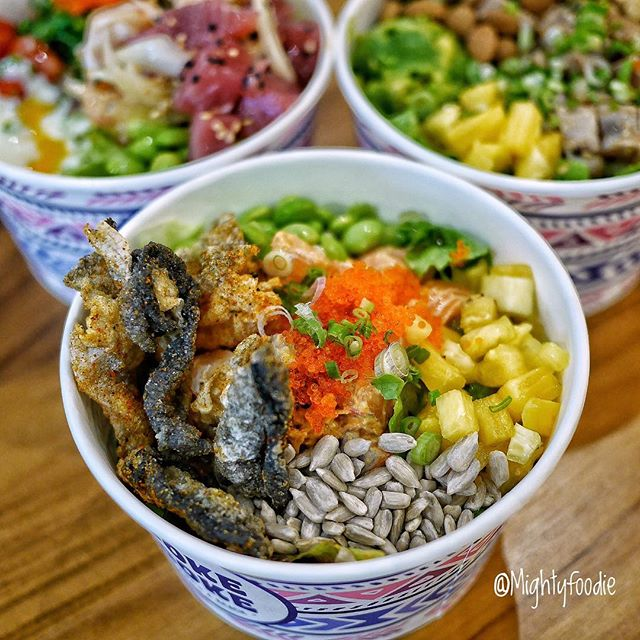 Build your own Poke Bowl @pokedoke.sg from regular size at $12.50, medium size at $14.90 to large size $18.90.