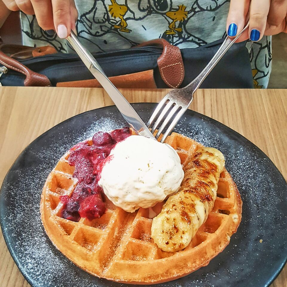 Buttermilk Waffle with Bananna Brulee and Wild Berries Compote and Ice Cream ($13.50++)