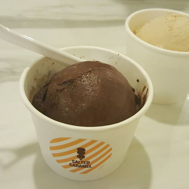 salted caramel and chocolate sorbet..