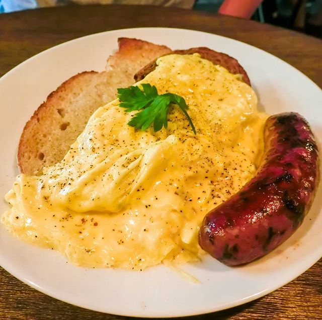 Ronin Scrambled Eggs on Toast with Lamb Sausage - Something different for your Sunday brunch We tried both the pork and lamb sausage options on different days, and it is really a matter of personal preference.