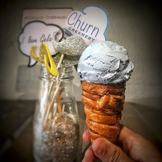 Blue Pea Sea Salt Gelato with Puffone!