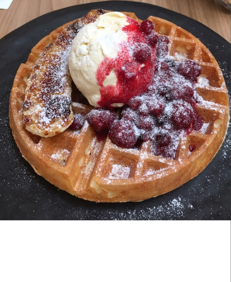 Waffles With Caramelized Banana & Berries Compote
