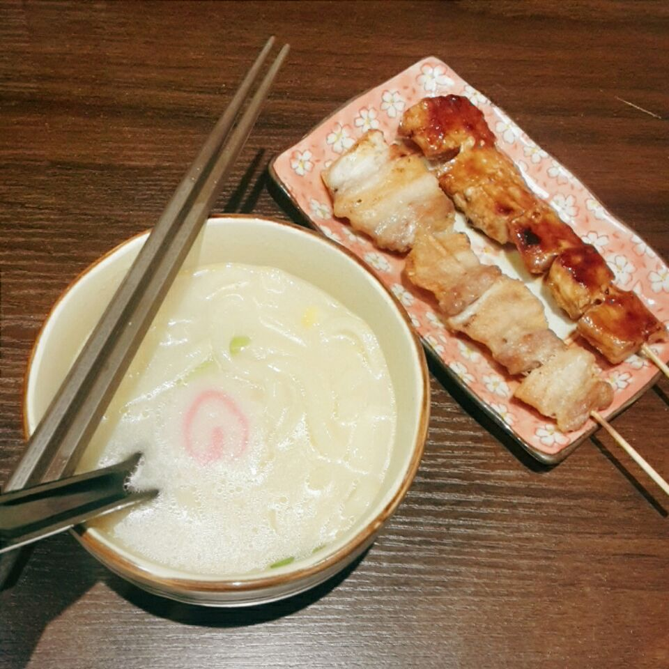 Fresh Udon And Porky Skewers