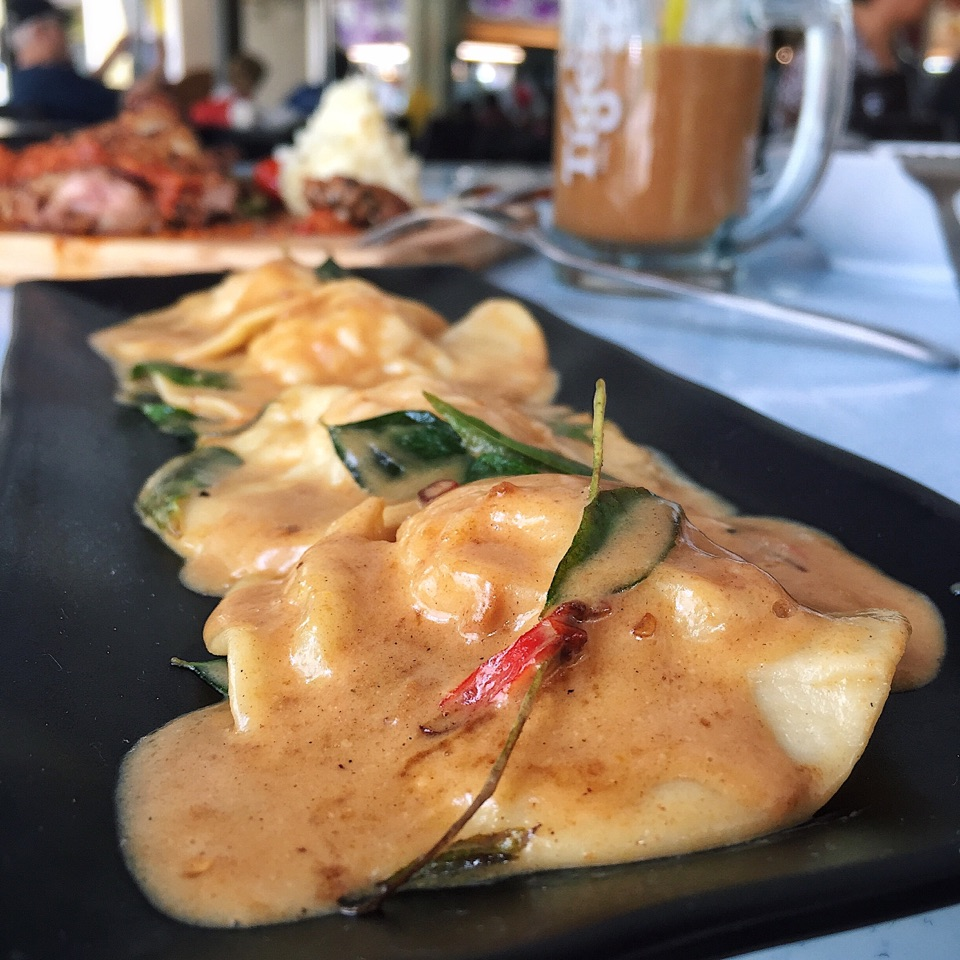 Salted Egg Prawn Ravioli ($13.80)