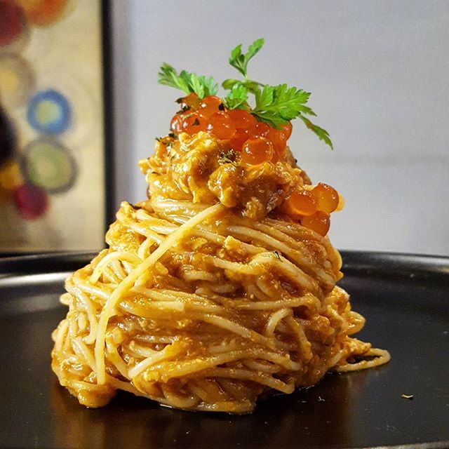 Cold Chili Crab Pasta with Ikura * Isit my staff meal better than yours?