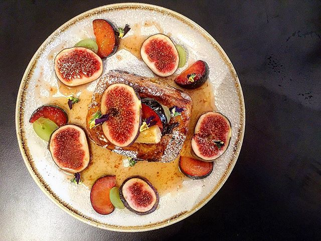 Fancy French($16) Fig jam French toast dizzled in Ume-boshi infused in honey,grapes,plums.