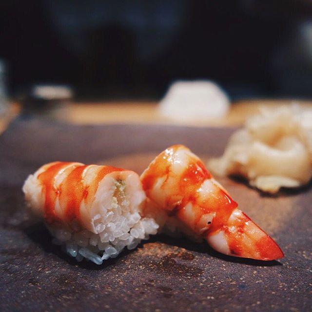 The next Nigiri Sushi is : Kuruma-Ebi 車海老 | Japanese Tiger Prawn 🍣 .