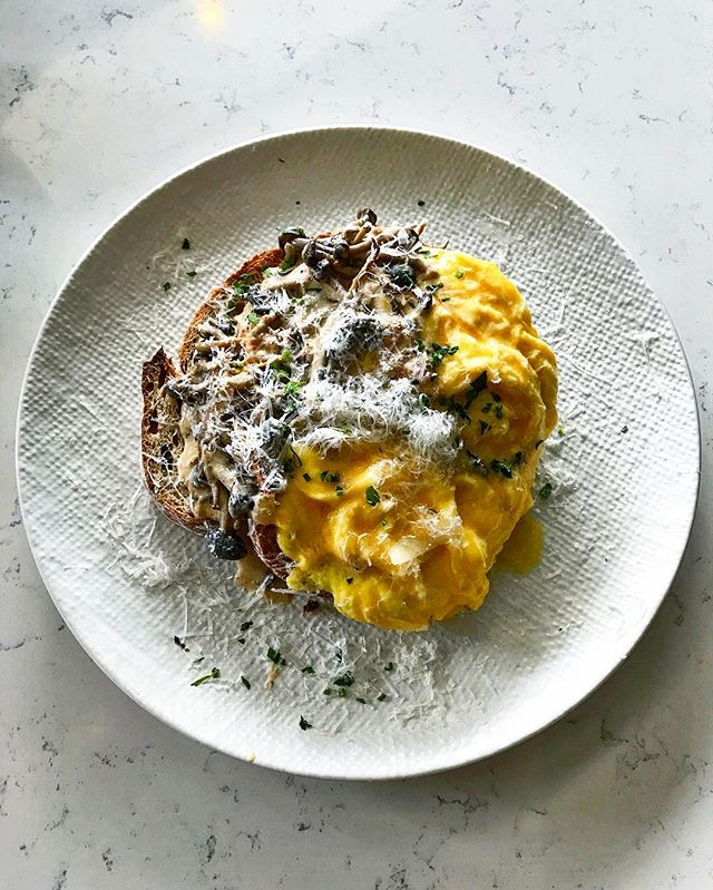 Atlas CoffeeHouse - All Day Brunch - Creamy Mushrooms on Sourdough (💵S$14 + Scrambled Eggs + S$3) White wine Creamy Mushrooms served on Toasted Sourdough, Freshly grated Parmesan Cheese.
