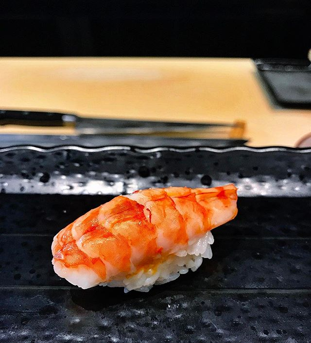Ryo Sushi - Omakase 15 Course Menu : The Last Nigiri Sushi : Prawn/Shrimp - Ebi (海老) 🦐 • The cooked Prawn have that sweet bounciness which reminisce of a fresh Prawn & it consists of a surprise once @veronicaphua & I bite into it...
