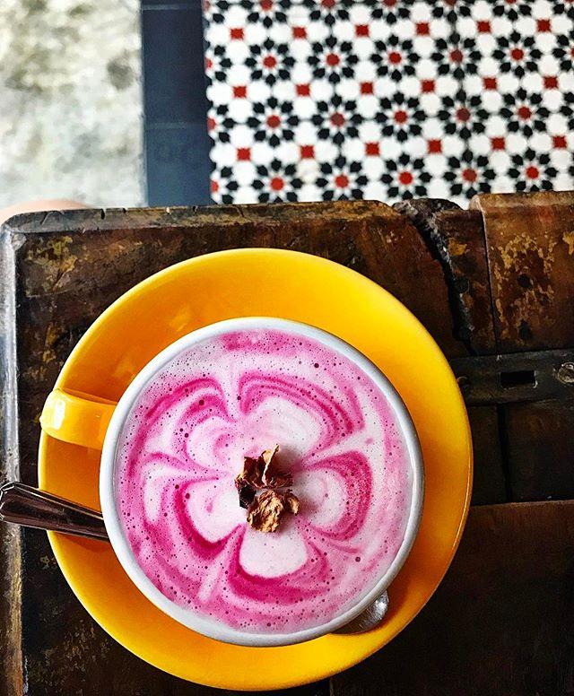 AfterGlow - Pink Soy Latte (💵S$6) Beetroot juice, Cinnamon, Soy Milk & Ginger Juice.