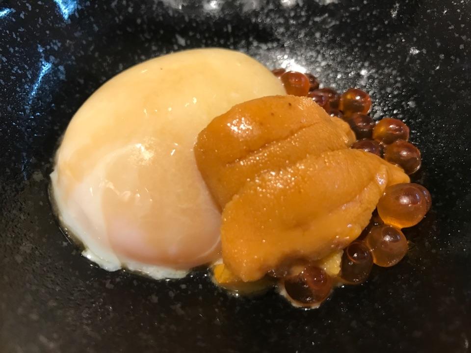 Onsen Tamago With Ikura & Uni Topped With Truffle Oil