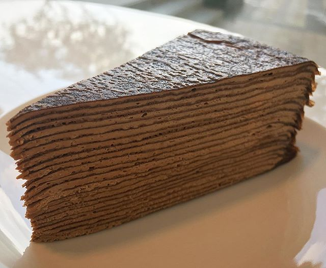 😋😋😋😋 chocolate mille crepe cake :) 💗  #chocolatemillecrepe #ladymconfections