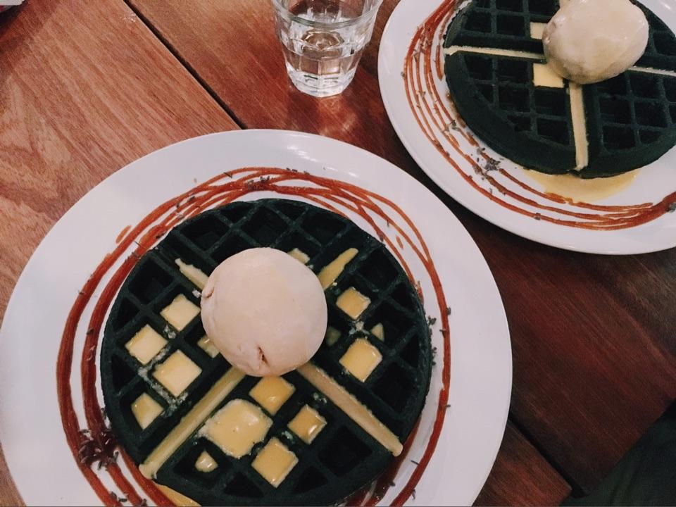 Charcoal Waffles & Salted Egg Sauce