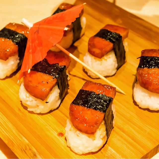 Musubi – Caramelised Luncheon Meat Sushi Musubi is luncheon meat coated with the most addictive super-secret sauce and served à la sushi style with sushi rice.
