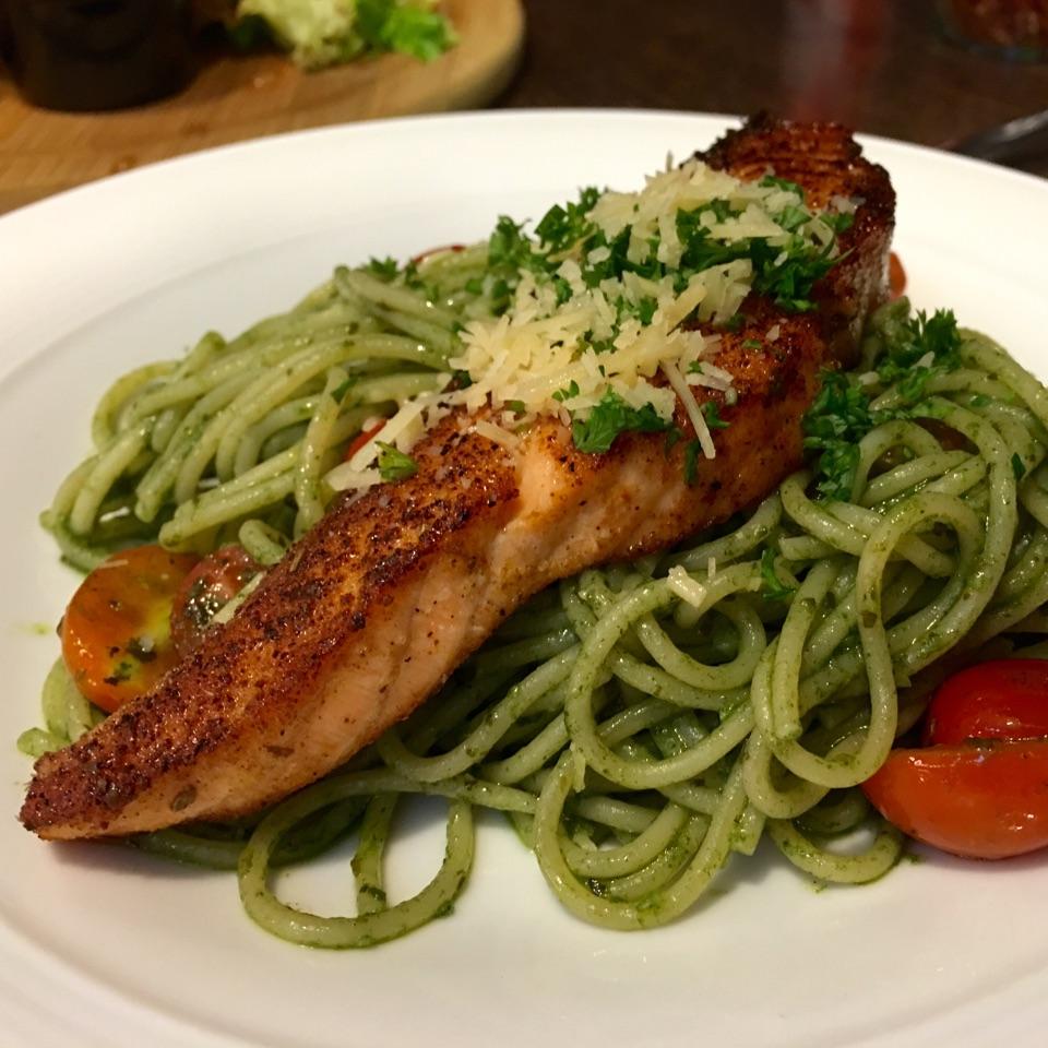 Salmon pesto pasta by calista hui fang burpple