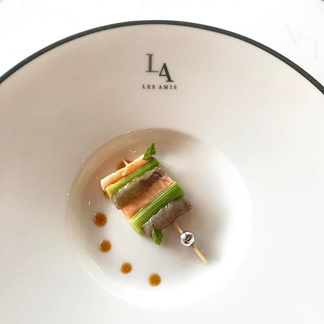Yesterday's lunch at Les Amis (2) // Amuse bouche - Skewer of salmon, baby leek and river eel with dots of balsamic vinaigrette.