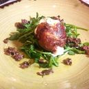 Cheese with Parma Ham(SGD$26.00) - pan-fried Buffalo Mozzarella wrapped in 12 months' aged Parma Ham, Majoram Herb, Baby Rocket Leaves, Olive Oil and Taggiasca Olives.