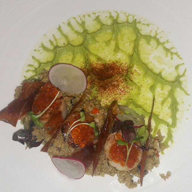 Seared Scallops and Parma Ham served with Cous-cous for a dose of healthy.